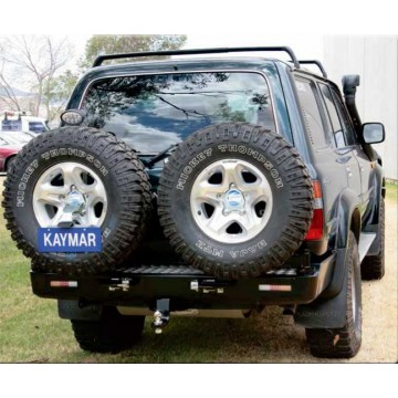 Soporte jerrycan doble izquierda Kaymar para Toyota HDJ / HZJ /  FZJ 80